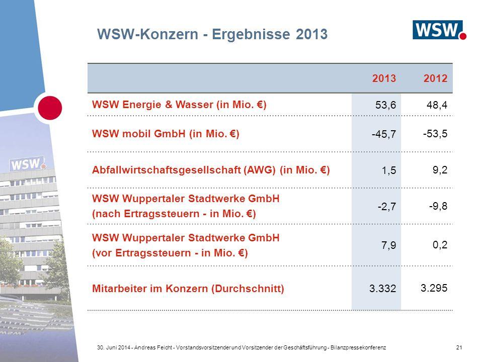 WSW-Konzern - Ergebnisse 2013