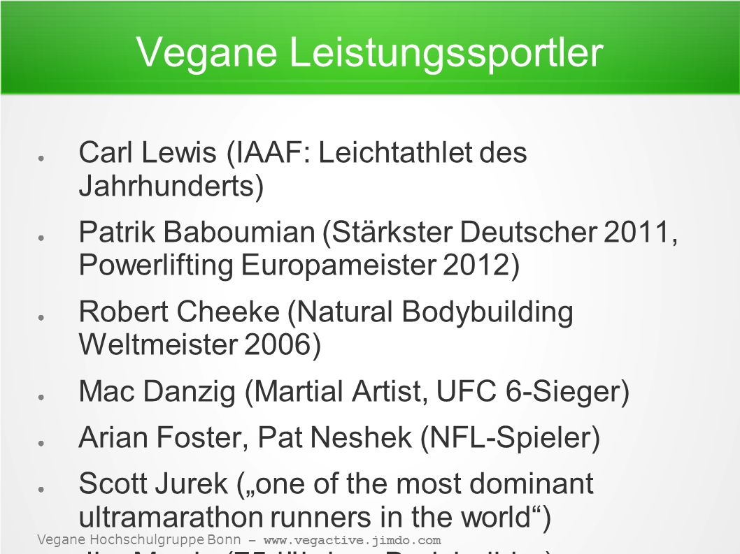 Vegane Leistungssportler