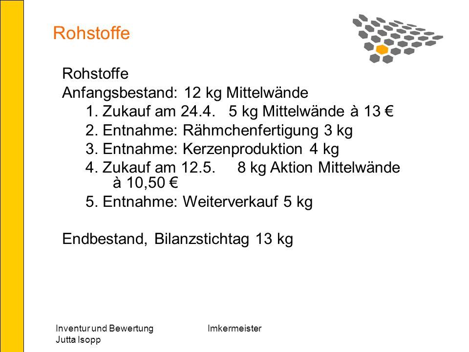 Rohstoffe Rohstoffe Anfangsbestand: 12 kg Mittelwände