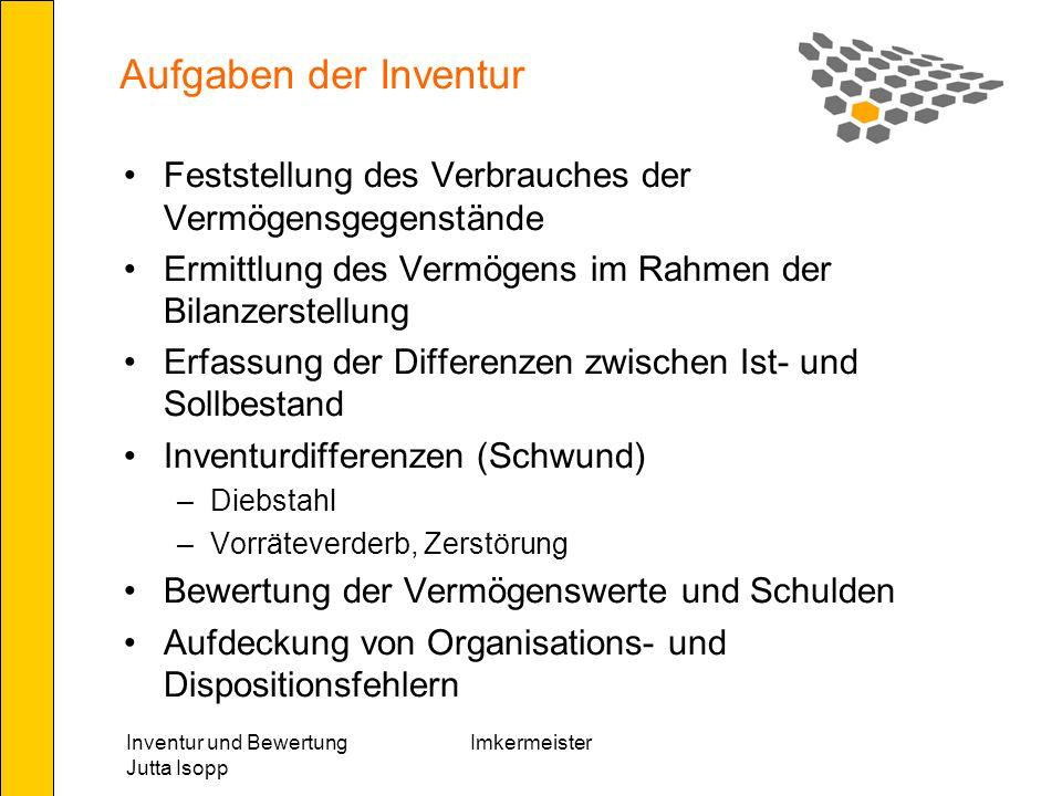 Aufgaben der Inventur Feststellung des Verbrauches der Vermögensgegenstände. Ermittlung des Vermögens im Rahmen der Bilanzerstellung.