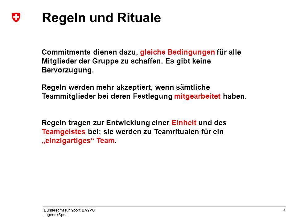 Regeln und Rituale Commitments dienen dazu, gleiche Bedingungen für alle Mitglieder der Gruppe zu schaffen. Es gibt keine Bervorzugung.
