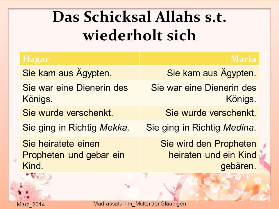 Das Schicksal Allahs s.t. wiederholt sich