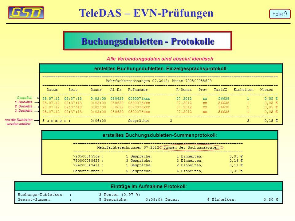 Buchungsdubletten - Protokolle