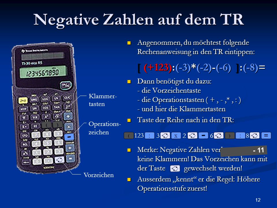 Negative Zahlen auf dem TR