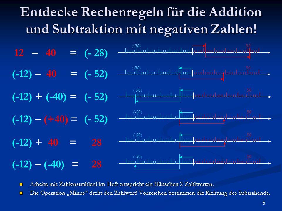 Entdecke Rechenregeln für die Addition und Subtraktion mit negativen Zahlen!