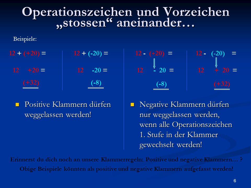"""Operationszeichen und Vorzeichen """"stossen aneinander…"""