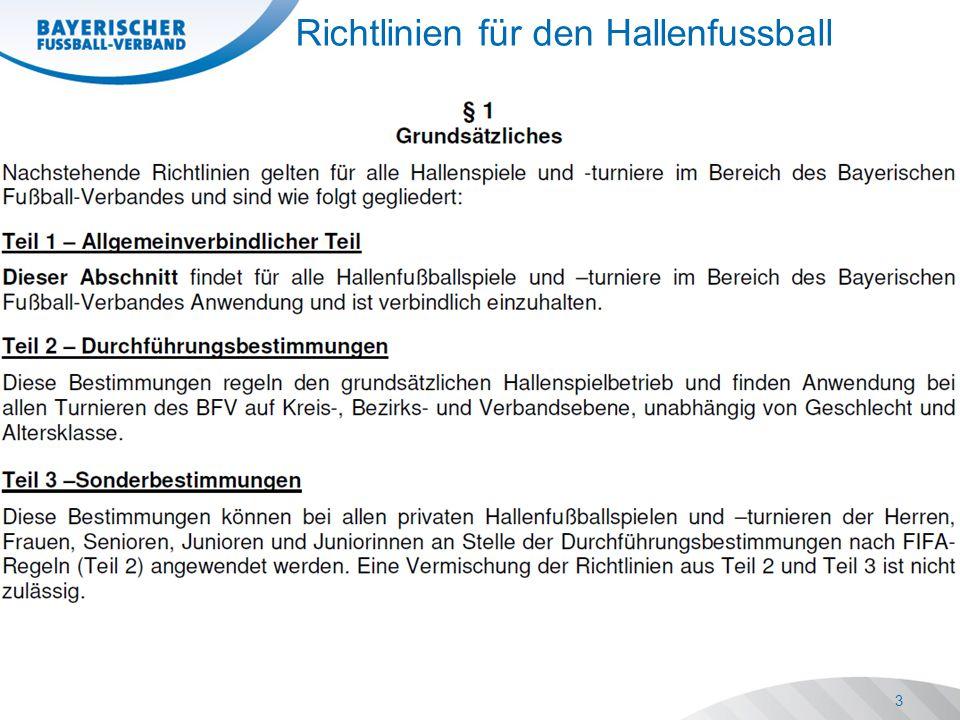 Richtlinien für den Hallenfussball