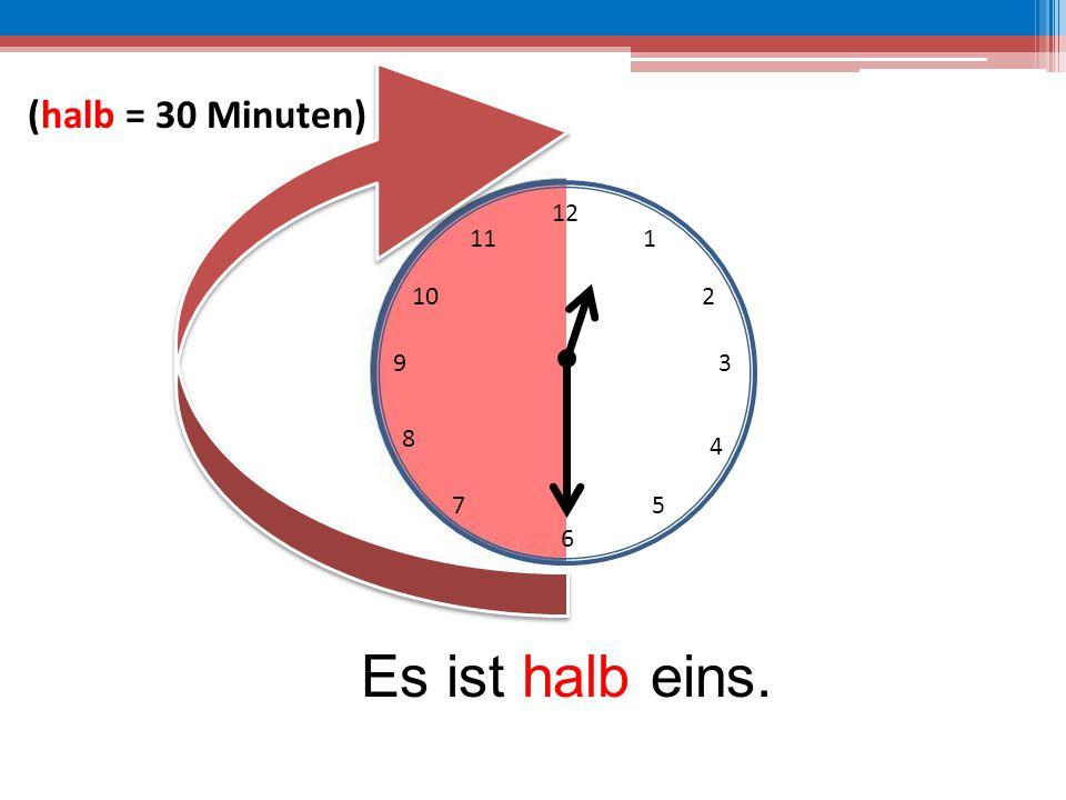 (halb = 30 Minuten) 12 11 1 10 2 9 3 8 4 7 5 6 Es ist halb eins.