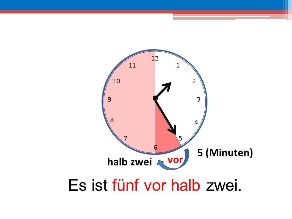 Es ist fünf vor halb zwei.