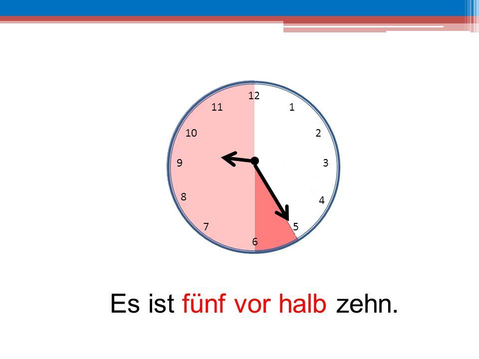 Es ist fünf vor halb zehn.
