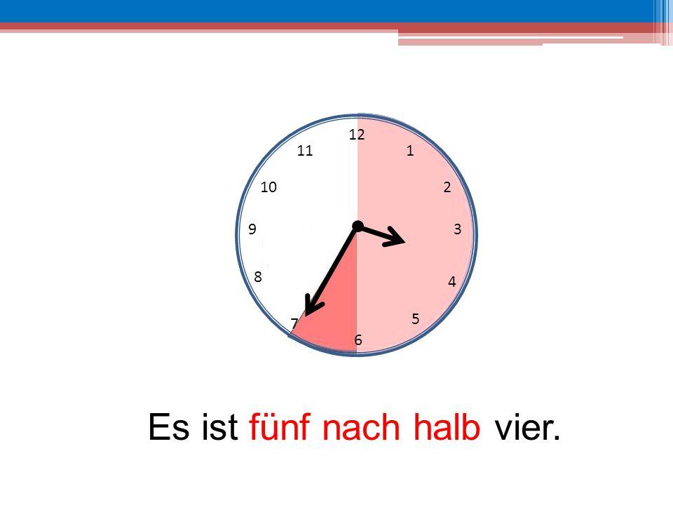 Es ist fünf nach halb vier.