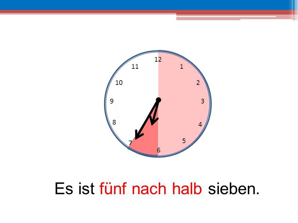 Es ist fünf nach halb sieben.