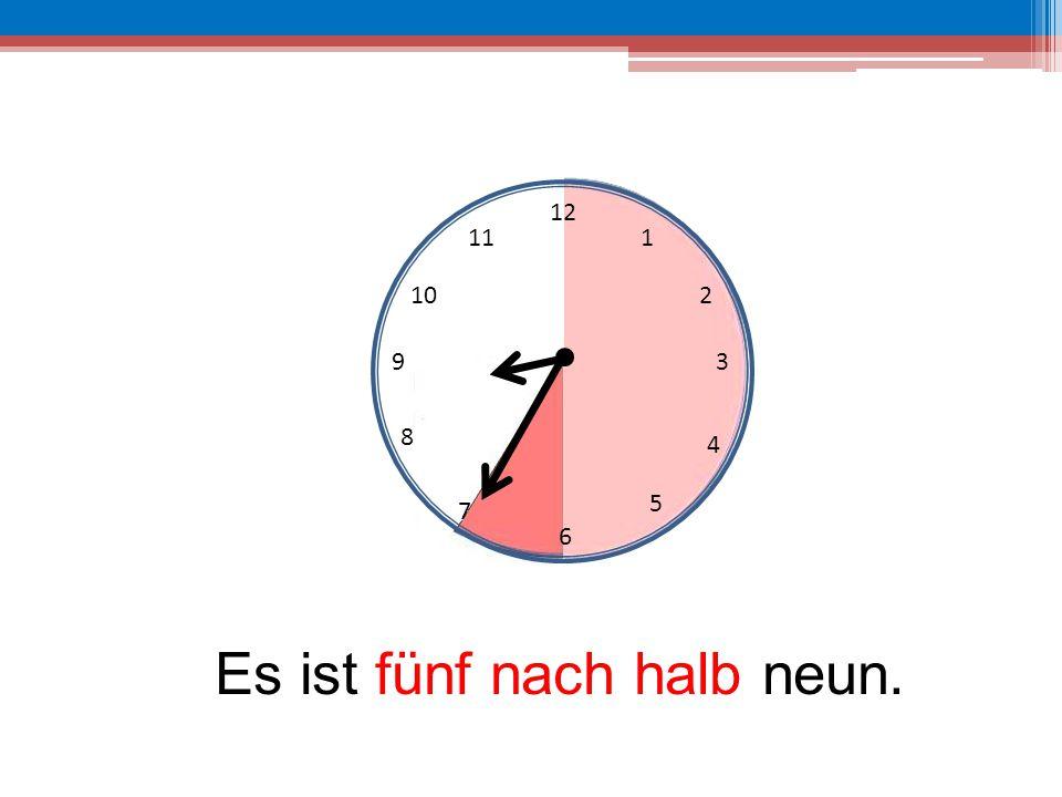 Es ist fünf nach halb neun.