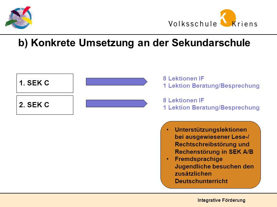 b) Konkrete Umsetzung an der Sekundarschule