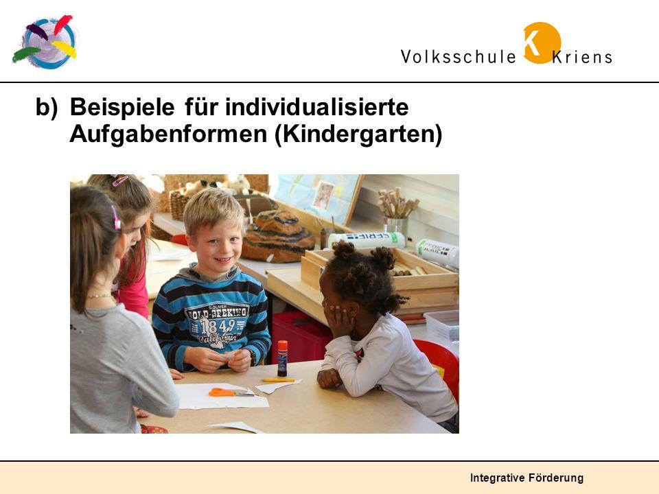 b) Beispiele für individualisierte Aufgabenformen (Kindergarten)