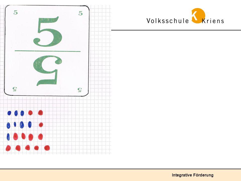 1. Klasse Unterdurchschnittliche Lösung: Die Zahl 5 wird mit Hilfe von Punkten zerlegt.