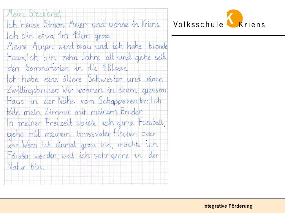 Durchschnittliche Lösung: Das Kind verfasst einen Steckbrief im Fliesstext, der die wichtigsten Eckdaten seiner Persönlichkeit beinhaltet.