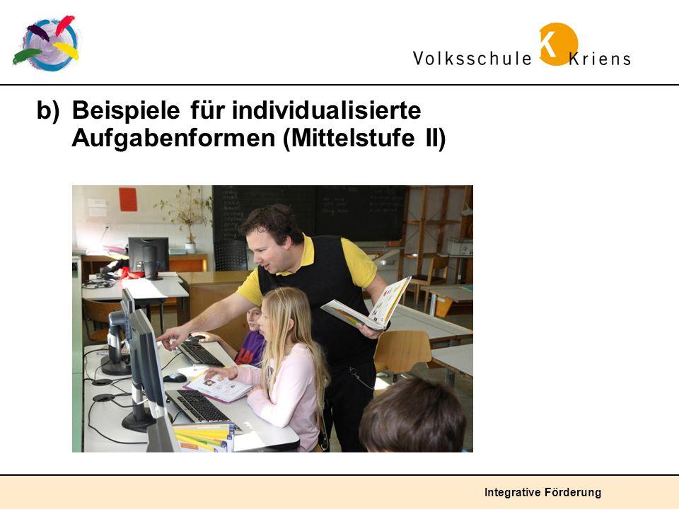 b) Beispiele für individualisierte Aufgabenformen (Mittelstufe II)