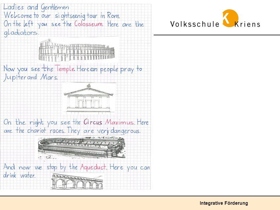 Überdurchschnittliche Lösung: Das Kind verfasst den Hefteintrag in englischer Sprache als einfachen Reisebeschrieb.