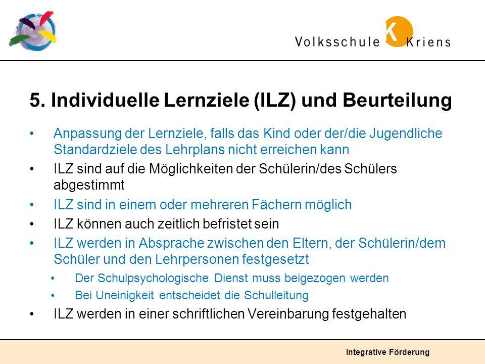 5. Individuelle Lernziele (ILZ) und Beurteilung
