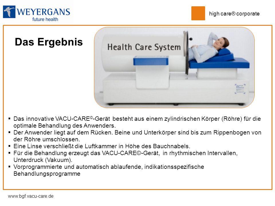 Das Ergebnis Das innovative VACU-CARE©-Gerät besteht aus einem zylindrischen Körper (Röhre) für die optimale Behandlung des Anwenders.