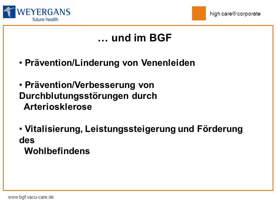 … und im BGF Prävention/Linderung von Venenleiden