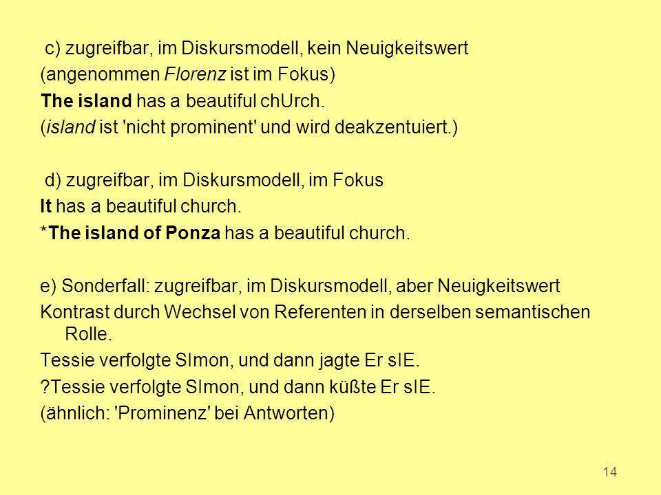 c) zugreifbar, im Diskursmodell, kein Neuigkeitswert (angenommen Florenz ist im Fokus) The island has a beautiful chUrch.