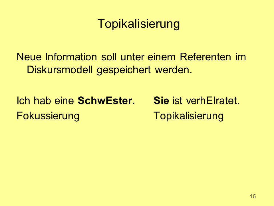 Topikalisierung Neue Information soll unter einem Referenten im Diskursmodell gespeichert werden. Ich hab eine SchwEster. Sie ist verhEIratet.