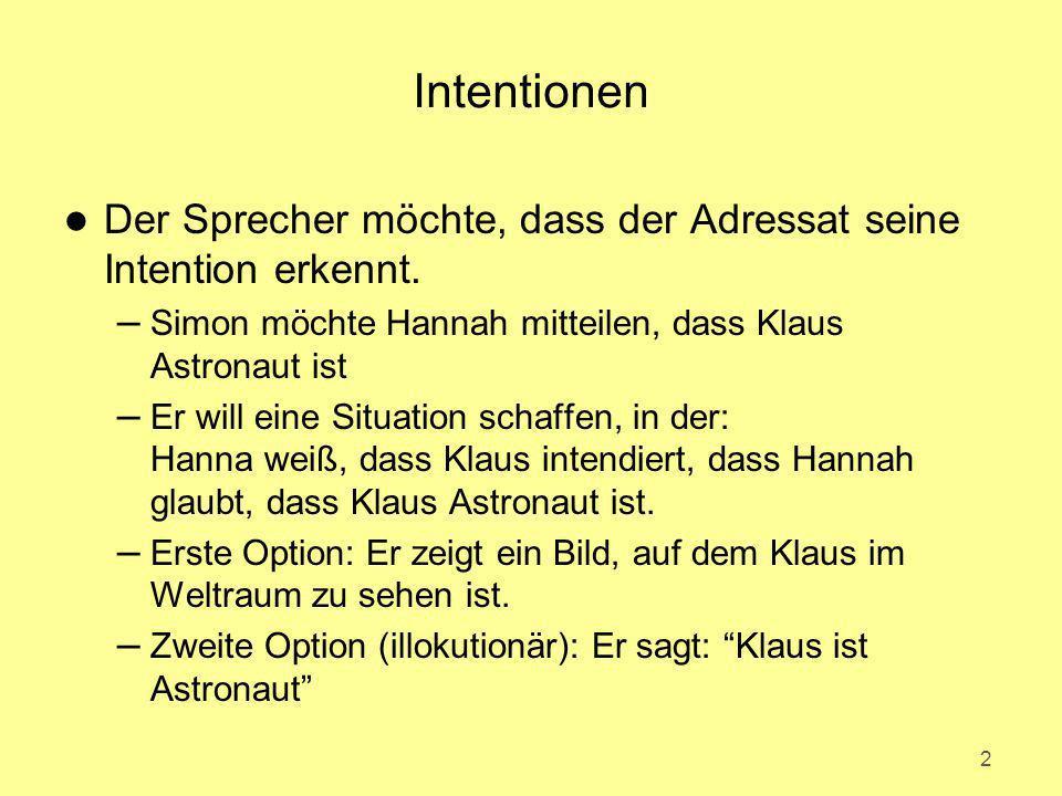 Intentionen Der Sprecher möchte, dass der Adressat seine Intention erkennt. Simon möchte Hannah mitteilen, dass Klaus Astronaut ist.