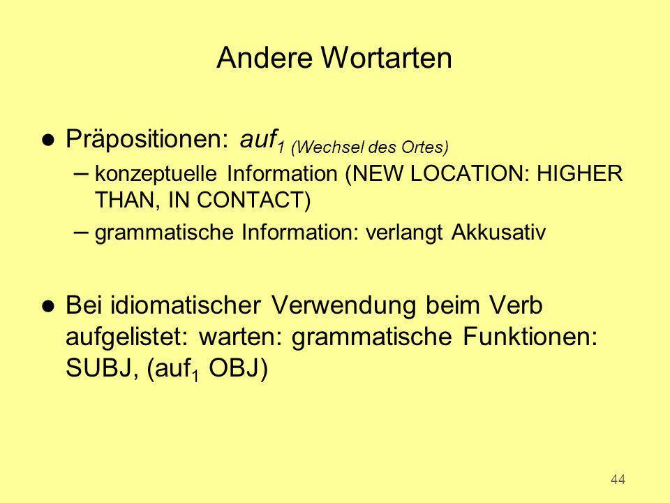 Andere Wortarten Präpositionen: auf1 (Wechsel des Ortes)