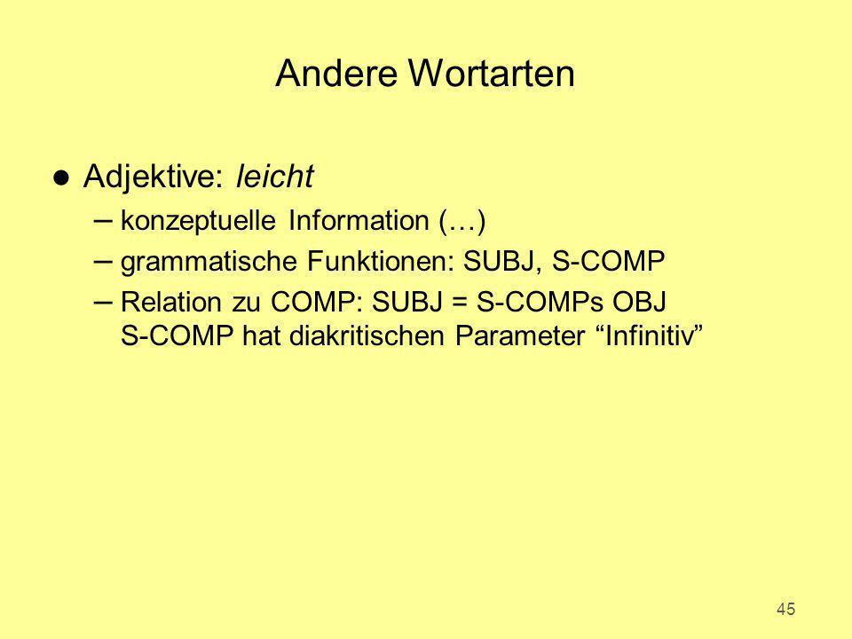 Andere Wortarten Adjektive: leicht konzeptuelle Information (…)