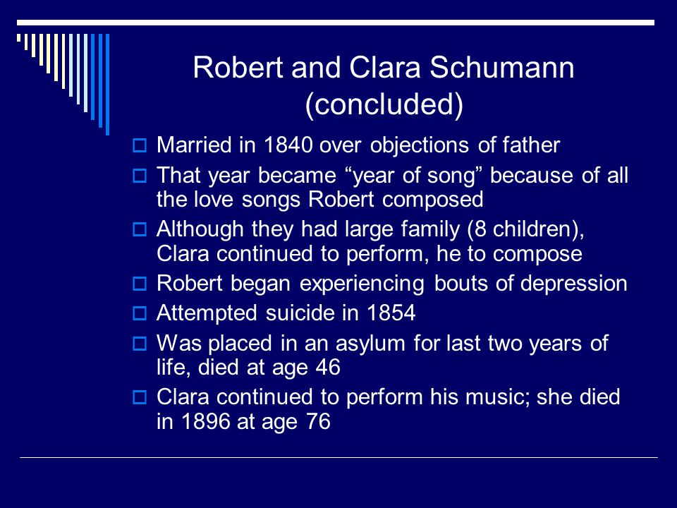 Robert and Clara Schumann (concluded)