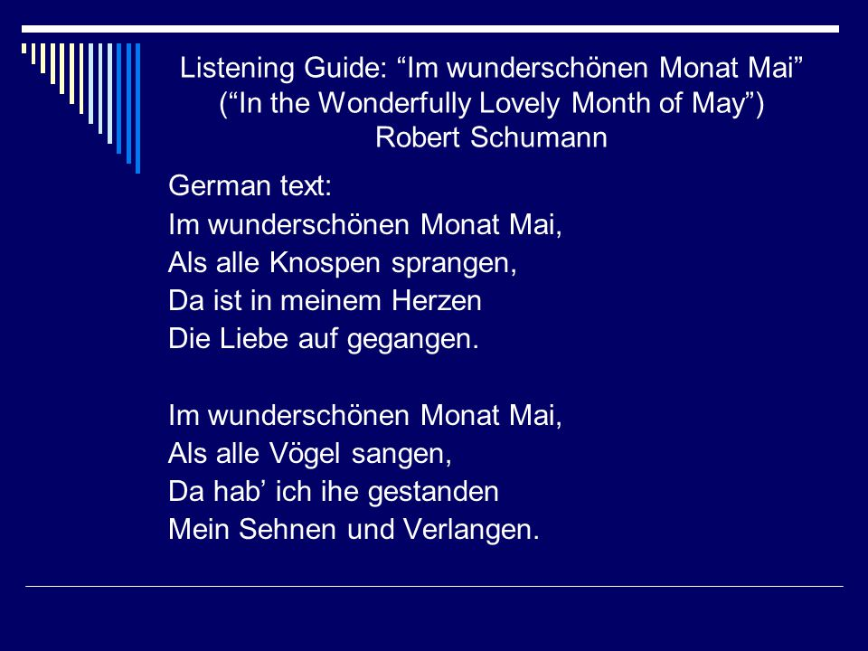 Listening Guide: Im wunderschönen Monat Mai ( In the Wonderfully Lovely Month of May ) Robert Schumann