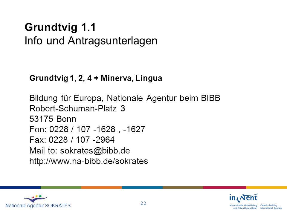 Grundtvig 1.1 Info und Antragsunterlagen