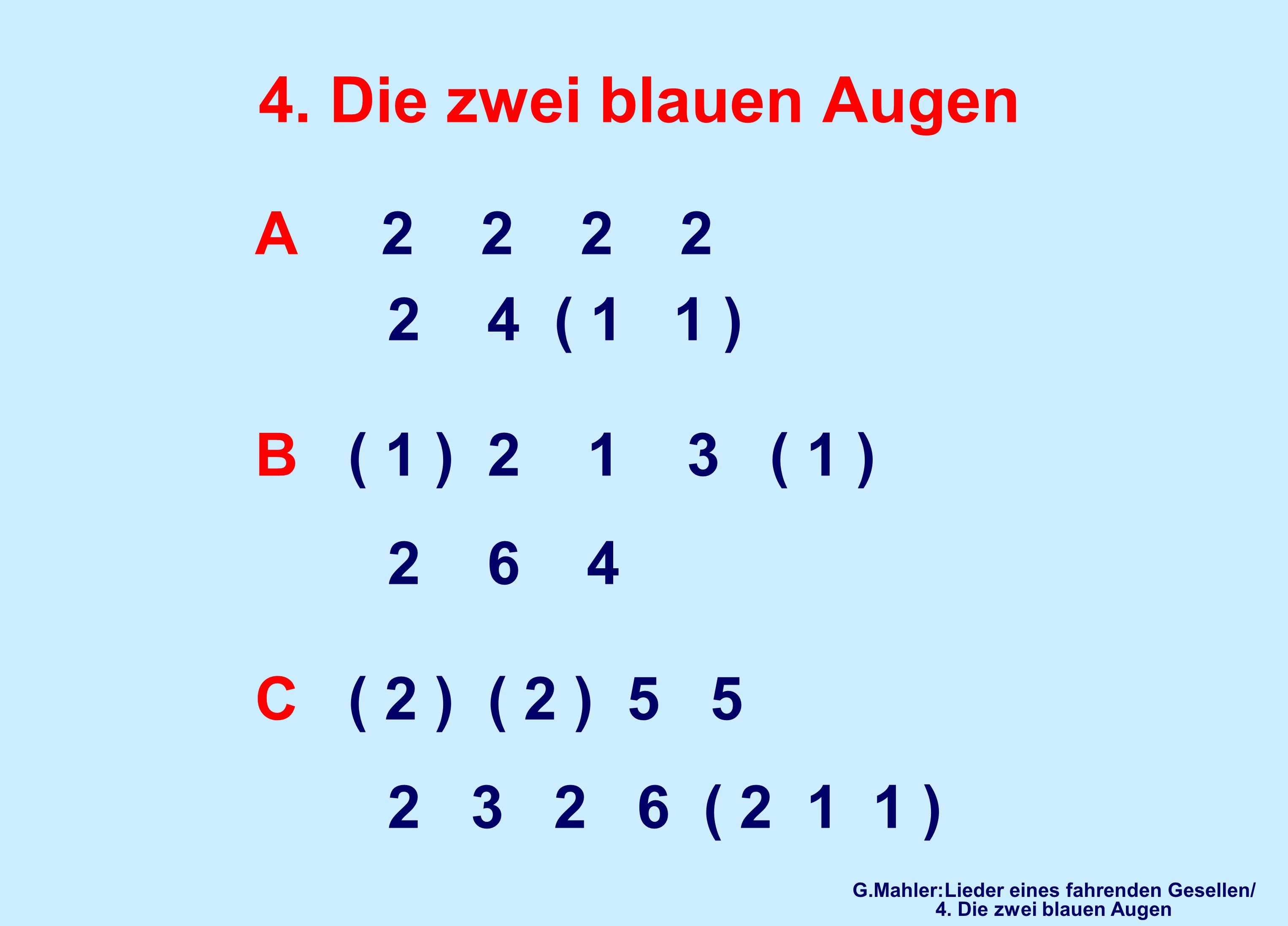 G.Mahler:Lieder eines fahrenden Gesellen/ 4. Die zwei blauen Augen
