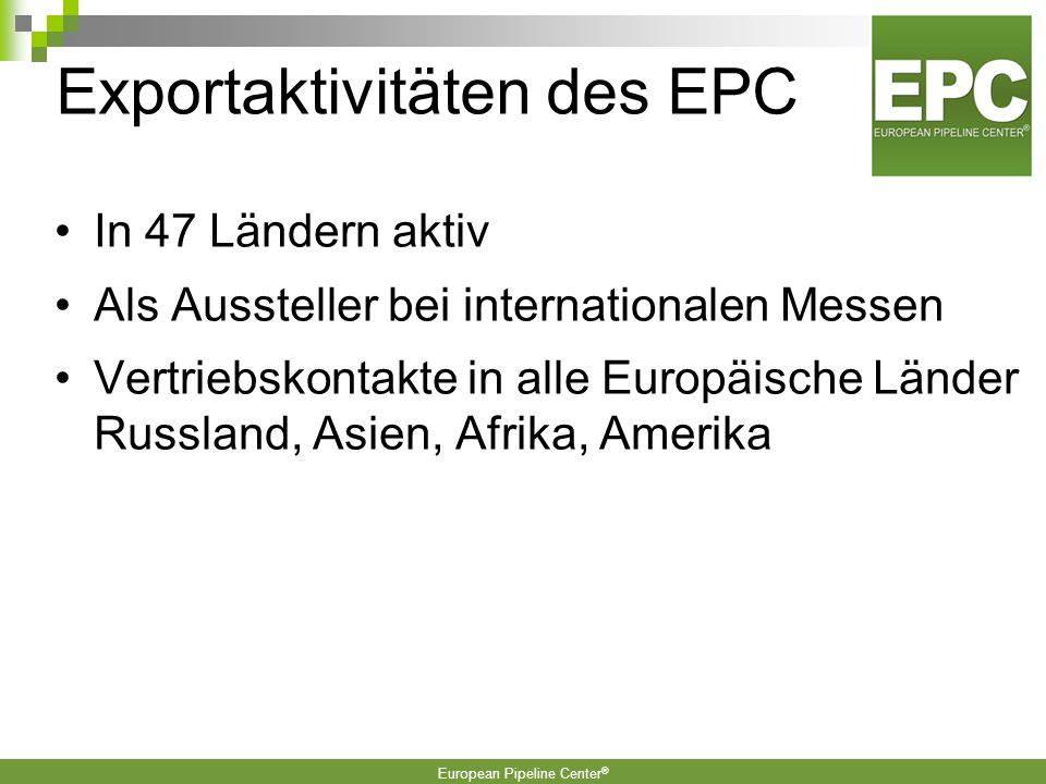 Exportaktivitäten des EPC