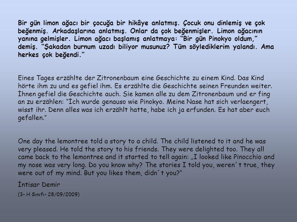 Bir gün limon ağacı bir çocuğa bir hikâye anlatmış
