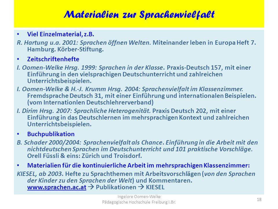 Materialien zur Sprachenvielfalt
