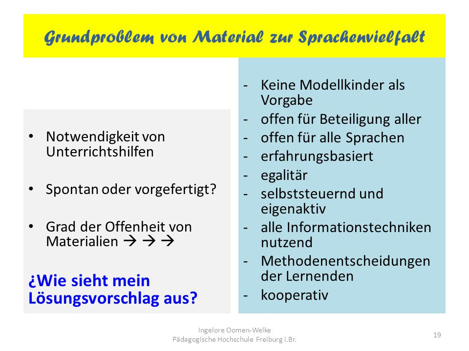 Grundproblem von Material zur Sprachenvielfalt