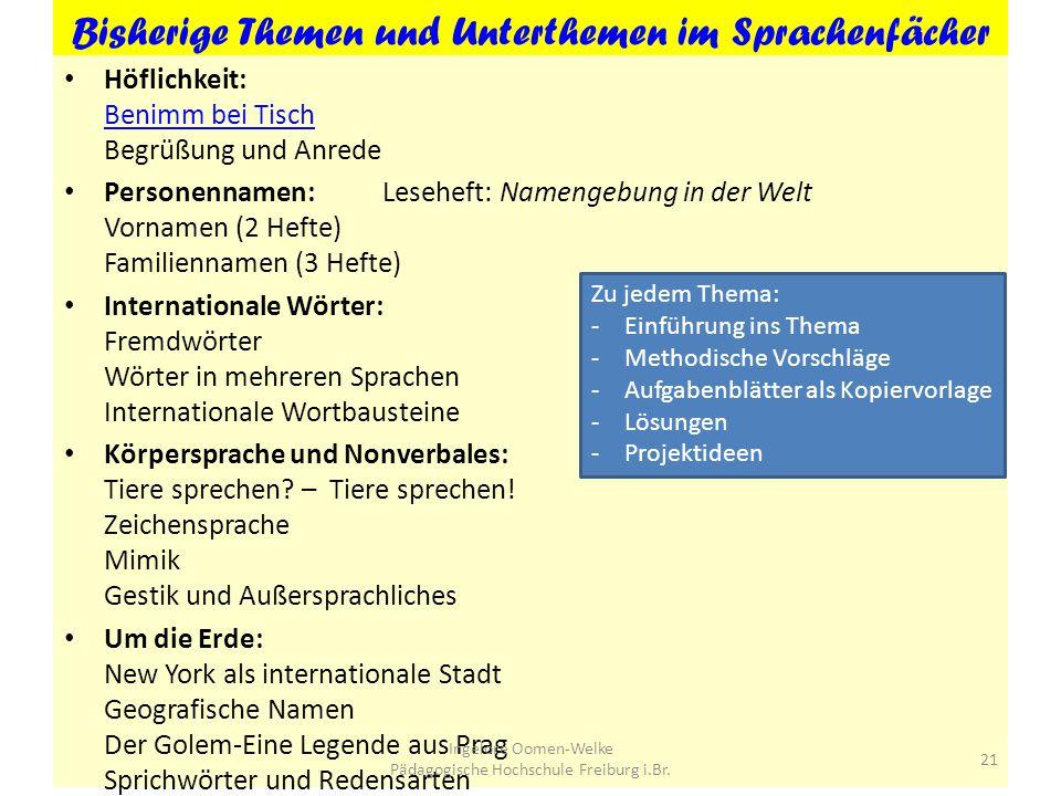 Bisherige Themen und Unterthemen im Sprachenfächer