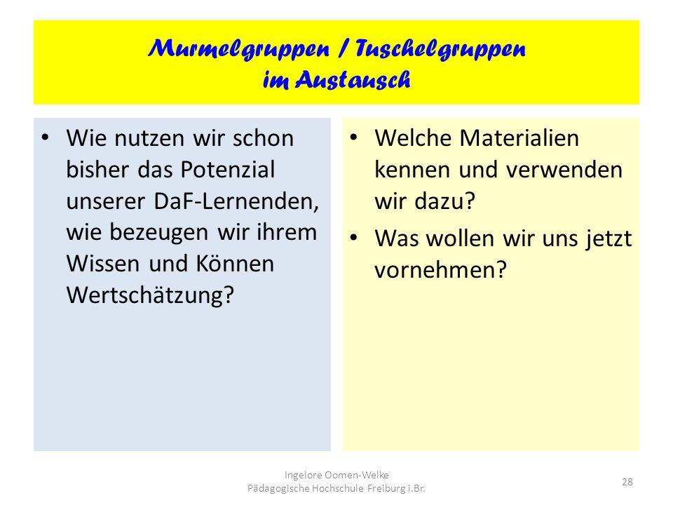 Murmelgruppen / Tuschelgruppen im Austausch