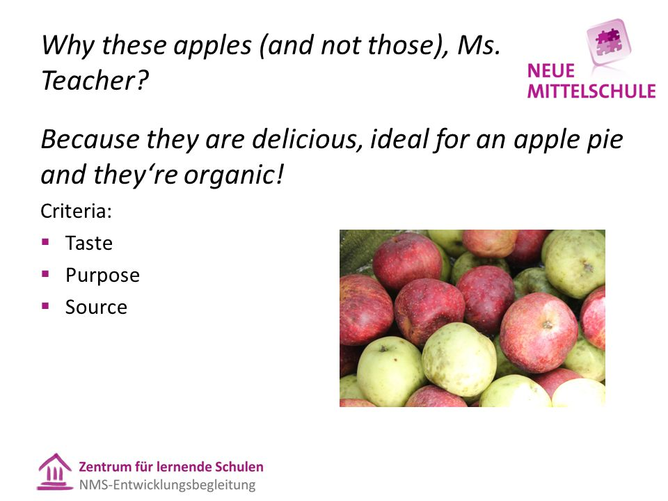 Why these apples (and not those), Ms. Teacher