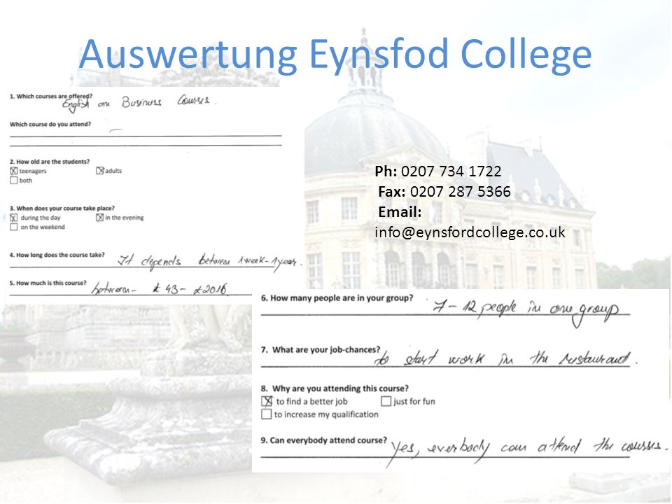 Auswertung Eynsfod College