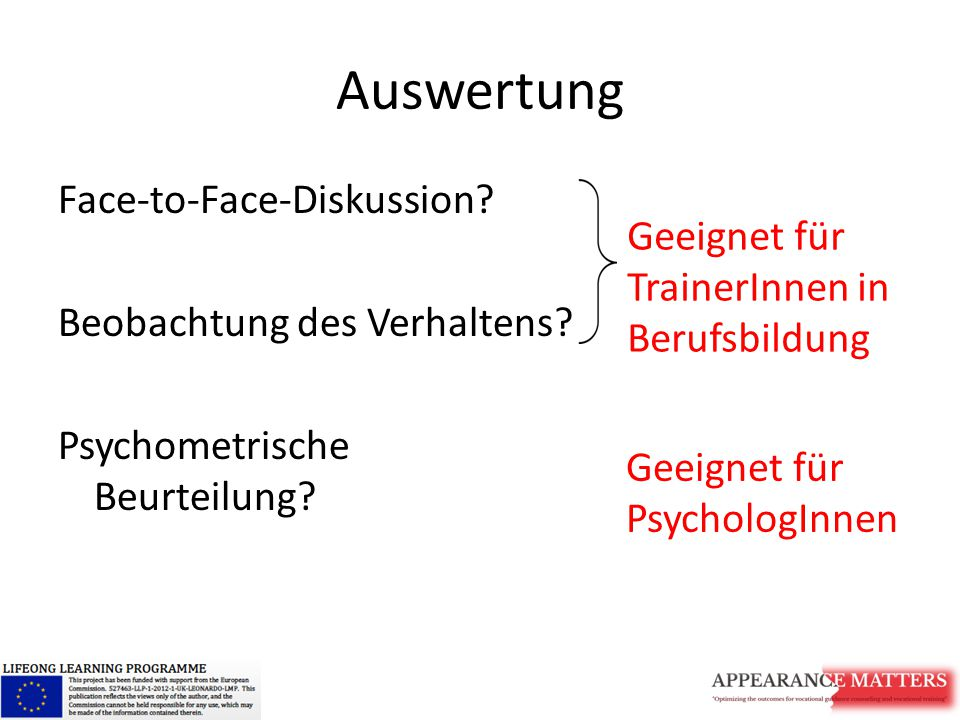 Auswertung Face-to-Face-Diskussion