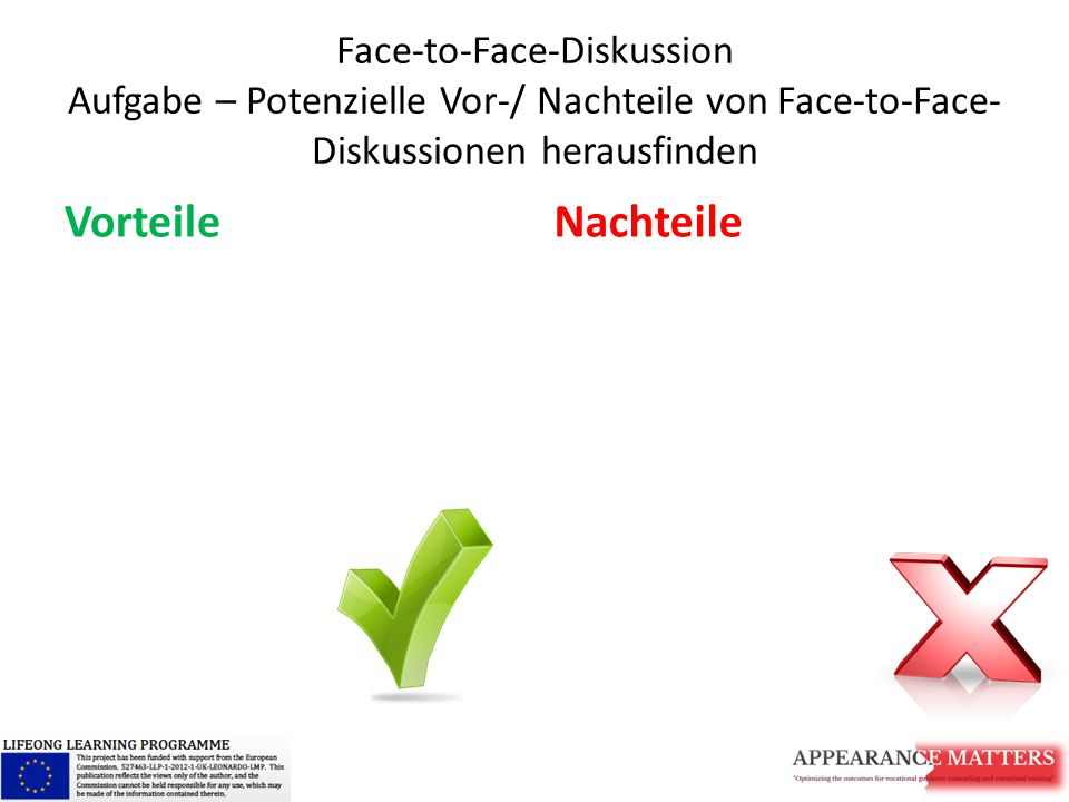 Face-to-Face-Diskussion Aufgabe – Potenzielle Vor-/ Nachteile von Face-to-Face-Diskussionen herausfinden