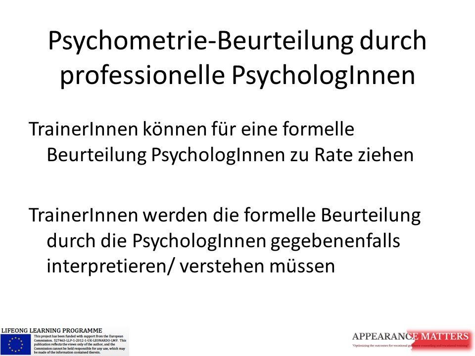 Psychometrie-Beurteilung durch professionelle PsychologInnen