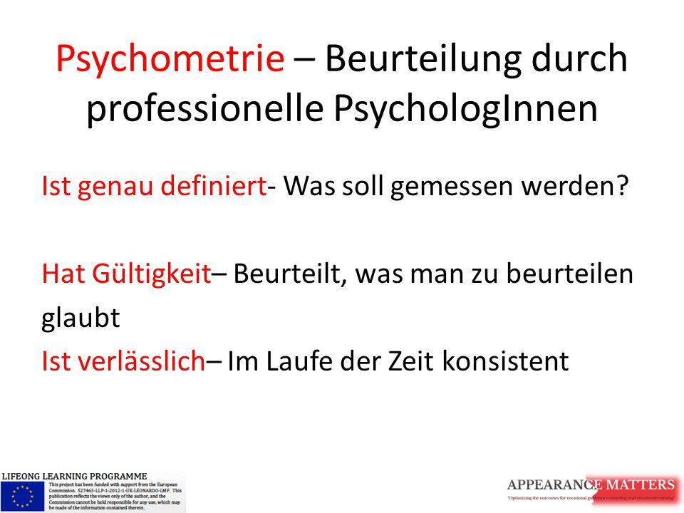 Psychometrie – Beurteilung durch professionelle PsychologInnen