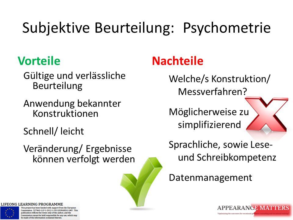 Subjektive Beurteilung: Psychometrie