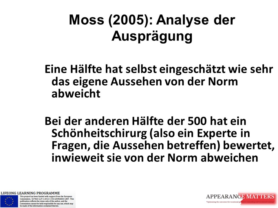 Moss (2005): Analyse der Ausprägung