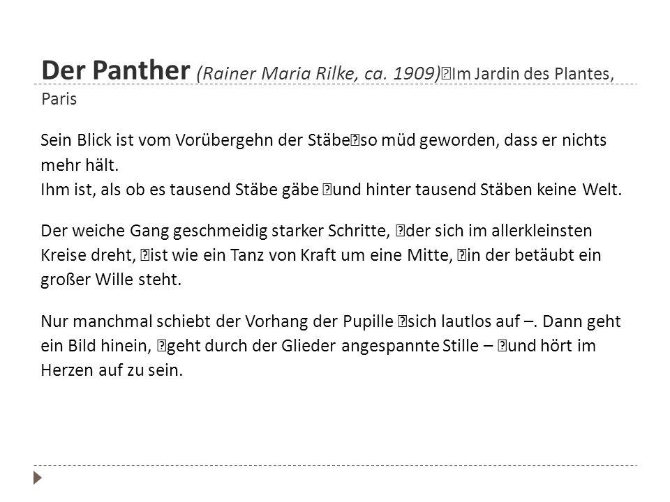 Der Panther (Rainer Maria Rilke, ca. 1909) Im Jardin des Plantes, Paris